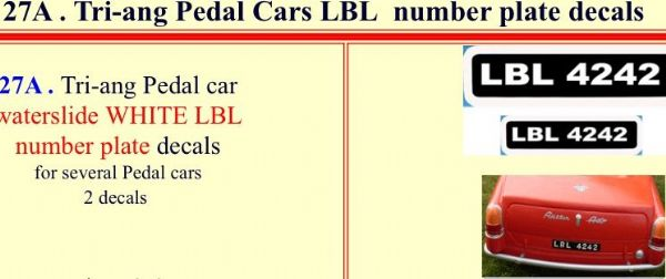 27A Tri-ang Pedal Cars LBL  number plate decals